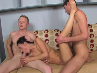 Dark brown Hair girl acquires cumshots on whoppers after great trio