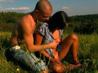 Girl rides up long jock and bounds on it fast outdoor
