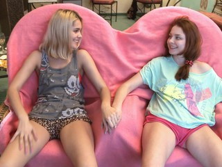 2 young and perverted lesbian babes are playing with biggest sextoy indoors